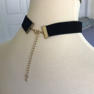 Jewelry - 3/$20 Navy blue velvet choker with gold clasp